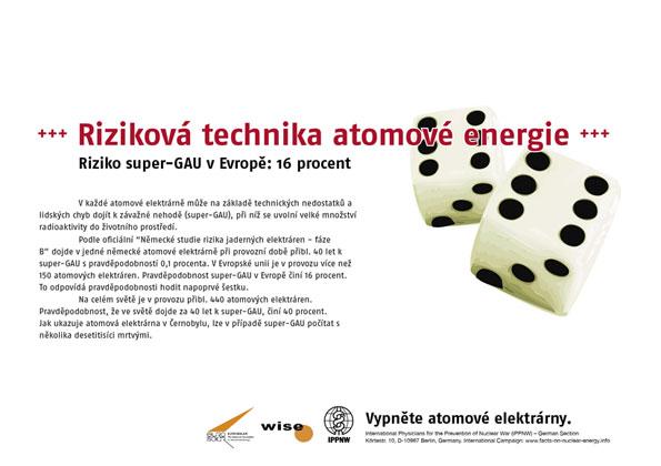 """Riziková technika atomové energie - Riziko super-GAU v Evropě: 16 procent - Mezinárodní plakátová kampaň """"Fakta o atomové energii"""""""