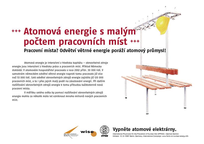 """Atomová energie s malým počtem pracovních míst - Pracovní místa? Odvětví větrné energie poráží atomový průmysl! - Mezinárodní plakátová kampaň """"Fakta o atomové energii"""""""