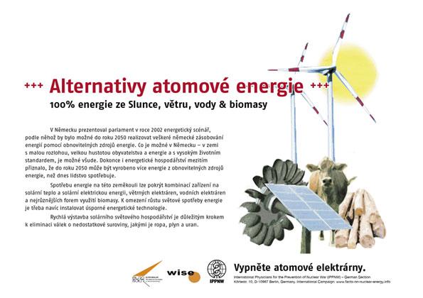 """Alternativy atomové energie - 100% energie ze Slunce, větru, vody & biomasy - Mezinárodní plakátová kampaň """"Fakta o atomové energii"""""""