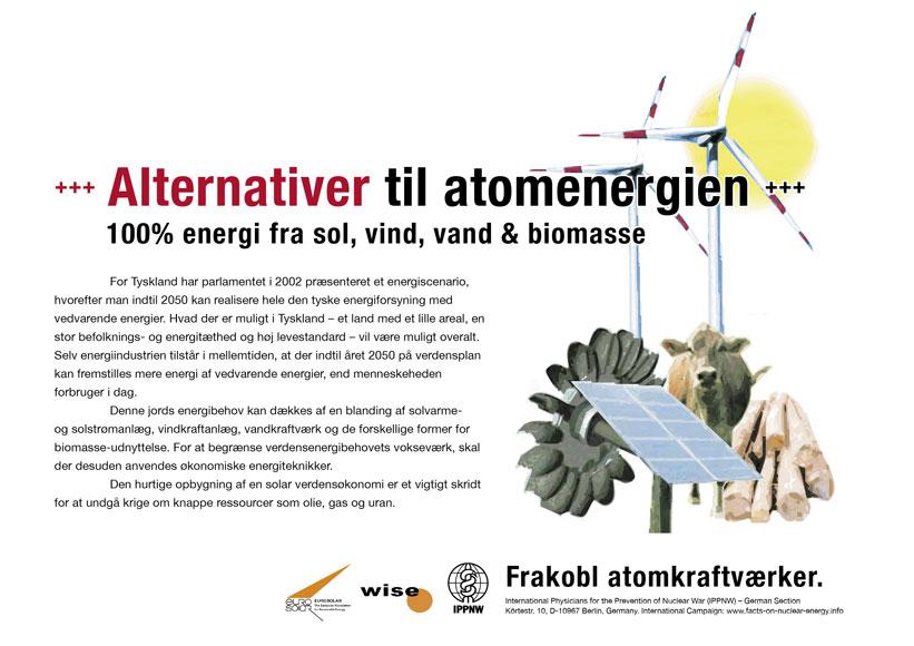 "Alternativer til atomenergien - 100% energi fra sol, vind, vand & biomasse - International plakatkampagne ""Fakta om atomenergi"""