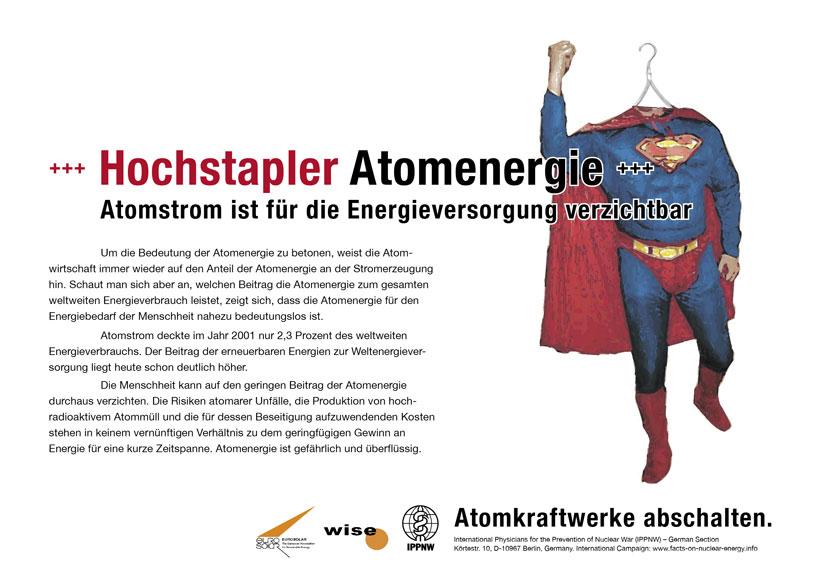 Hochstapler Atomenergie - Atomstrom ist f�r die Energieversorgung verzichtbar - Internationale Plakatkampagne Fakten zur Atomenergie - International Nuclear Power Fact File Poster Campaign