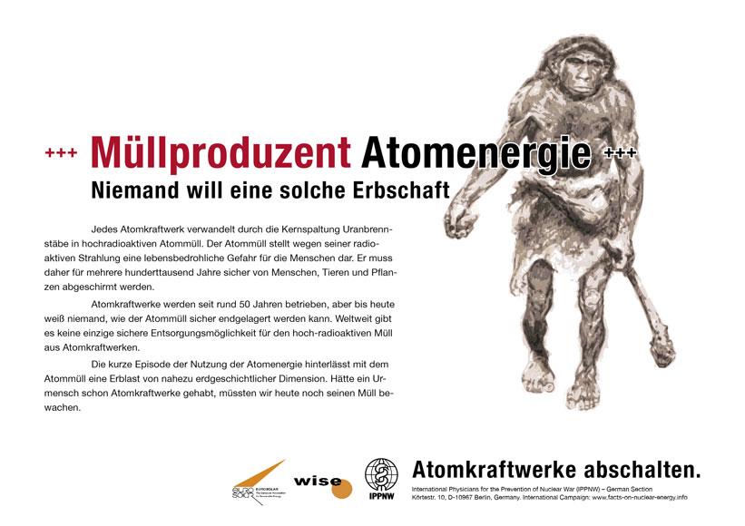 M�llproduzent Atomenergie  - Niemand will eine solche Erbschaft - Internationale Plakatkampagne Fakten zur Atomenergie - International Nuclear Power Fact File Poster Campaign