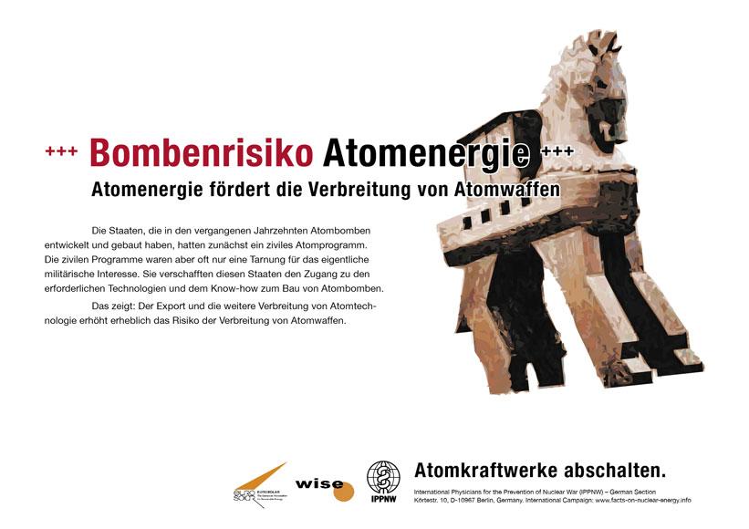 Bombenrisiko Atomenergie - Atomenergie fördert die Verbreitung von Atomwaffen - Internationale Plakatkampagne Fakten zur Atomenergie - International Nuclear Power Fact File Poster Campaign