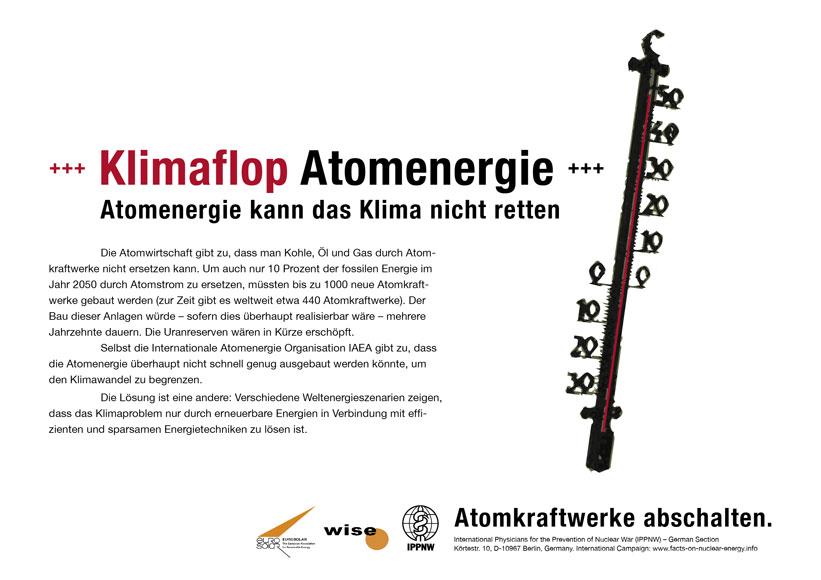 Klimaflop Atomenergie - Atomenergie kann das Klima nicht retten - Internationale Plakatkampagne Fakten zur Atomenergie - International Nuclear Power Fact File Poster Campaign