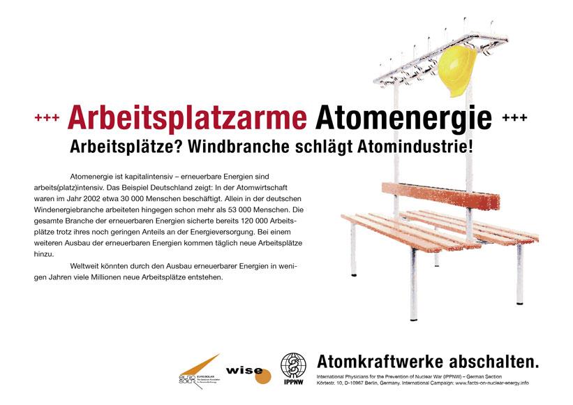 Arbeitsplatzarme Atomenergie - Arbeitsplätze? Windbranche schlägt Atomindustrie! - Internationale Plakatkampagne Fakten zur Atomenergie - International Nuclear Power Fact File Poster Campaign