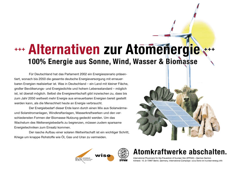 Alternativen zur Atomenergie - 100% Energie aus Sonne, Wind, Wasser & Biomasse - Internationale Plakatkampagne Fakten zur Atomenergie - International Nuclear Power Fact File Poster Campaign