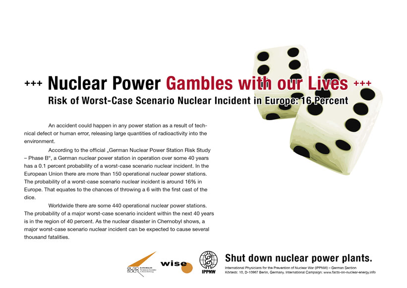 Nuclear Power Gambles with our Lives - Risk of Worst-Case Scenario Nuclear Incident in Europe: 16 Percent - International Nuclear Power Fact File Poster Campaign
