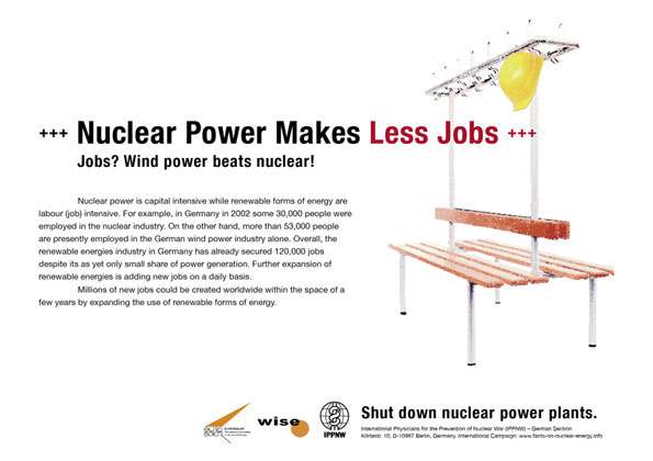 Nuclear Power Makes Less Jobs - Jobs? Wind power beats nuclear! - International Nuclear Power Fact File Poster Campaign