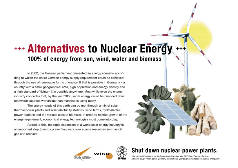 Alternatives to Nuclear Energy - 100% of energy from sun, wind, water and biomass - International Nuclear Power Fact File Poster Campaign