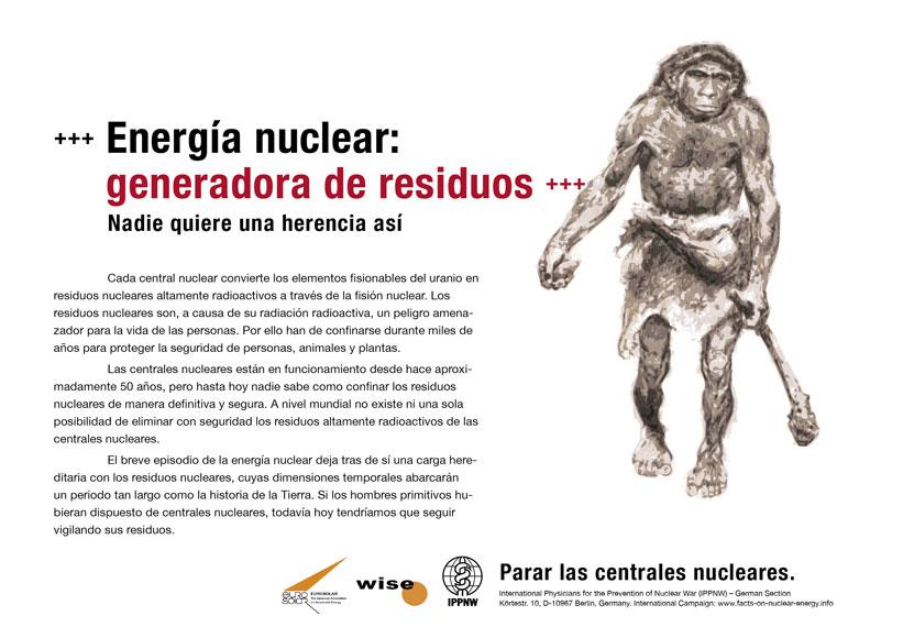 """Energ�a nuclear: generadora de residuos - Nadie quiere una herencia as� - Campa�a internacional de carteles """"Hechos sobre la energ�a nuclear"""""""