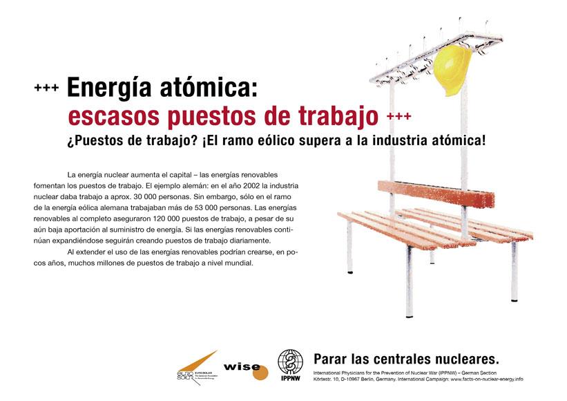 """Energía atómica: escasos puestos de trabajo  - ¿Puestos de trabajo? ¡El ramo eólico supera a la industria atómica! - Campaña internacional de carteles """"Hechos sobre la energía nuclear"""""""