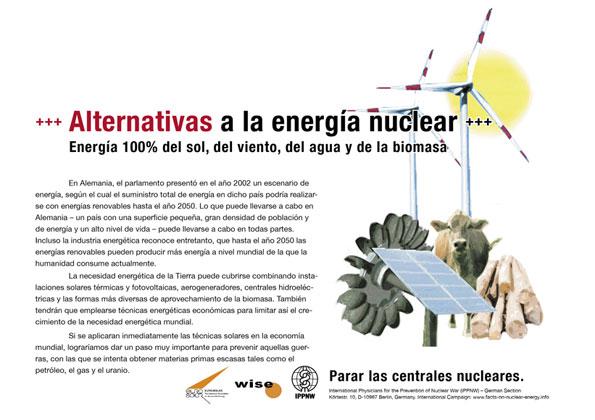 """Alternativas a la energía nuclear - Energía 100% del sol, del viento, del agua y de la biomasa - Campaña internacional de carteles """"Hechos sobre la energía nuclear"""""""