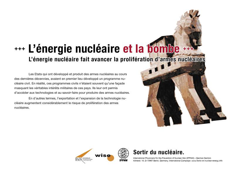 L'énergie nucléaire et la bombe - L'énergie nucléaire fait avancer la prolifération d'armes nucléaires - Campagne d'affiche internationale « La vérité sur le nucléaire »