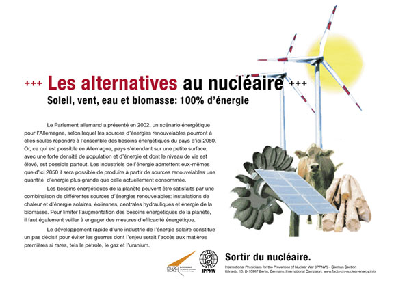 Les alternatives au nucléaire - Soleil, vent, eau et biomasse : 100 % d'énergie - Campagne d'affiche internationale « La vérité sur le nucléaire »