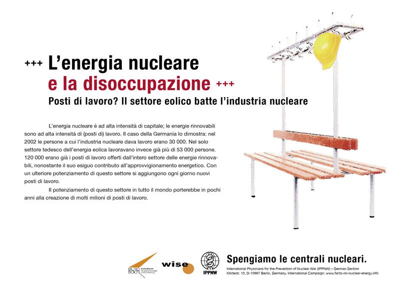 """L�energia nucleare e la disoccupazione - Posti di lavoro? Il settore eolico batte l�industria nucleare - Campagna pubblicitaria internazionale """"Fatti riguardo l�energia nucleare"""""""