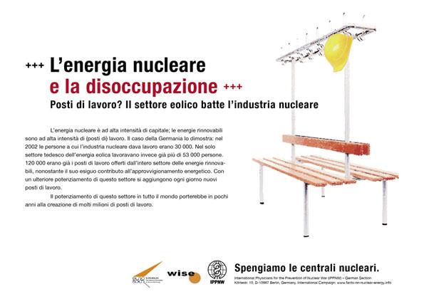 """L'energia nucleare e la disoccupazione - Posti di lavoro? Il settore eolico batte l'industria nucleare - Campagna pubblicitaria internazionale """"Fatti riguardo l'energia nucleare"""""""