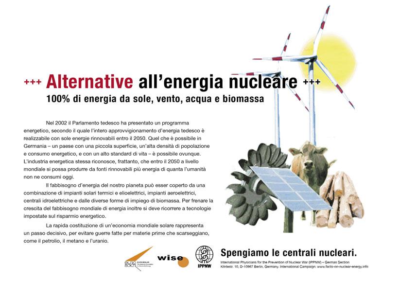 """Alternative all'energia nucleare - 100% di energia da sole, vento, acqua e biomassa - Campagna pubblicitaria internazionale """"Fatti riguardo l'energia nucleare"""""""