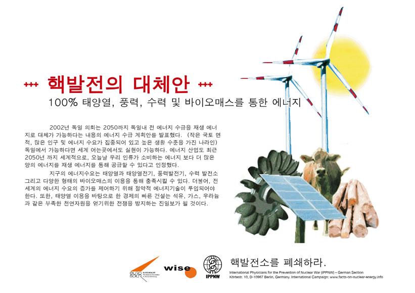 """핵발전의 대체안 - 100% 태양열, 풍력, 수력 및 바이오매스를 통한 에너지 - 국제 피켓 캠페인 """"핵발전의 진실"""""""