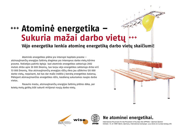 """Menkas darbo vietų skaičius – atominė energija - Darbo vietos? Vėjo energetikos sfera lenkia atominę energetiką! - Tarptautinė plakatų kampanija """"Faktai apie atominę energiją"""" - International Nuclear Power Fact File Poster Campaign - Internationale Plakatkampagne Fakten zur Atomenergie"""