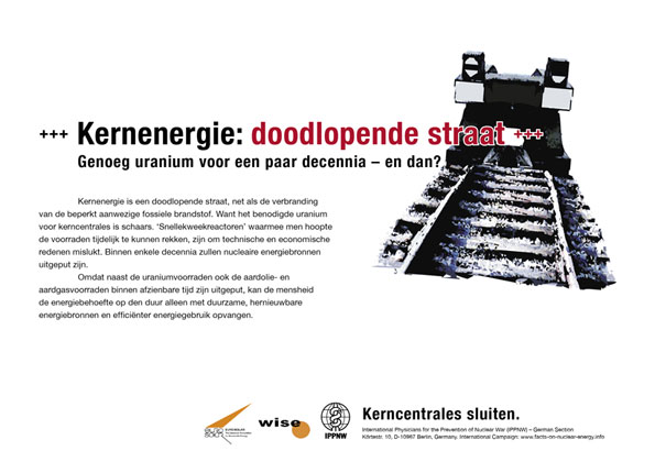 Kernenergie: doodlopende weg - Genoeg uranium voor een paar decennia � en dan? - Internationale postercampagne