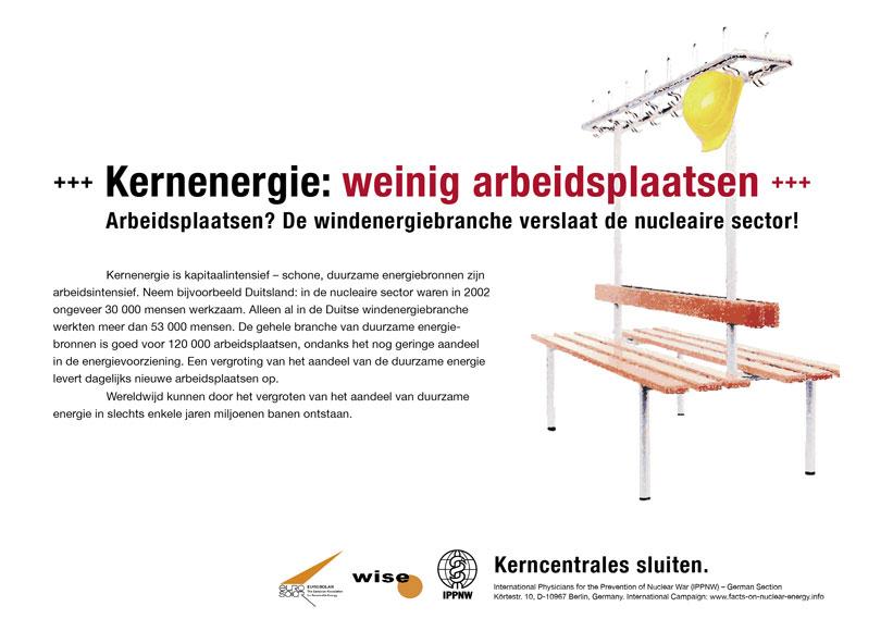Kernenergie: weinig arbeidsplaatsen - Arbeidsplaatsen? De windenergiebranche verslaat de nucleaire sector! - Internationale postercampagne