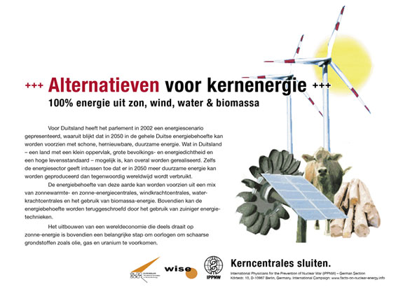 Alternatieven voor kernenergie - 100 % energie uit zon, wind, water & biomassa - Internationale postercampagne