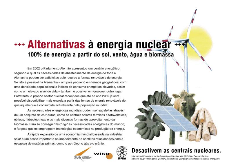 """Alternativas à energia nuclear - 100% de energia a partir do sol, vento, água e biomassa - Campanha de cartazes internacional """"Factos sobre a energia nuclear"""""""