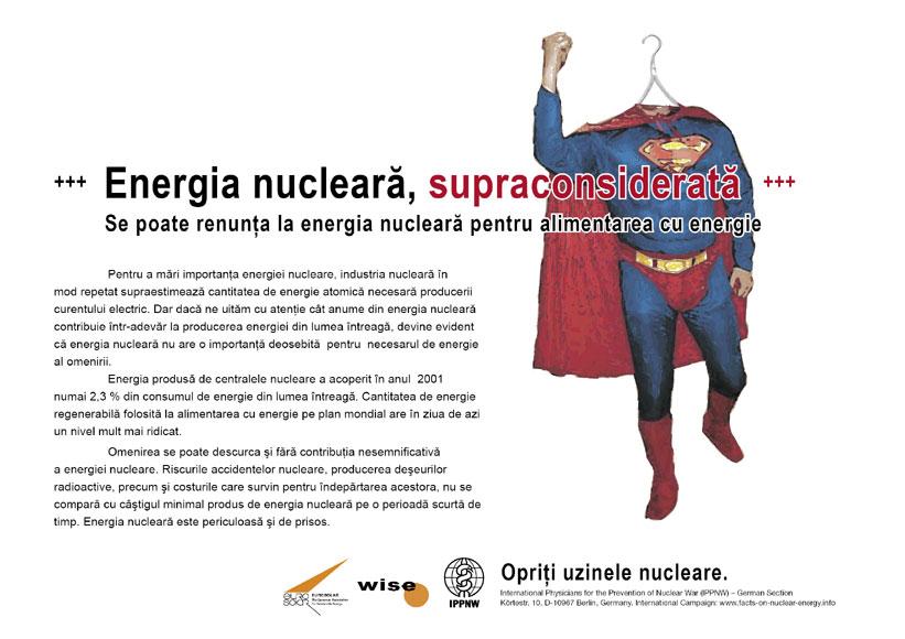 """Energia nucleară, supraconsiderată - Se poate renunţa la energia nucleară pentru alimentarea cu energie - Campania internaţională cu pancarte """"Fapte concrete ale energiei nucleare"""""""
