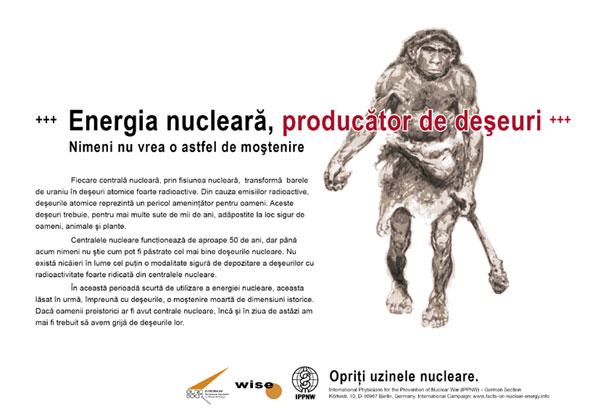 """Energia nucleară, producător de deşeuri - Nimeni nu vrea o astfel de moştenire - Campania internaţională cu pancarte """"Fapte concrete ale energiei nucleare"""""""