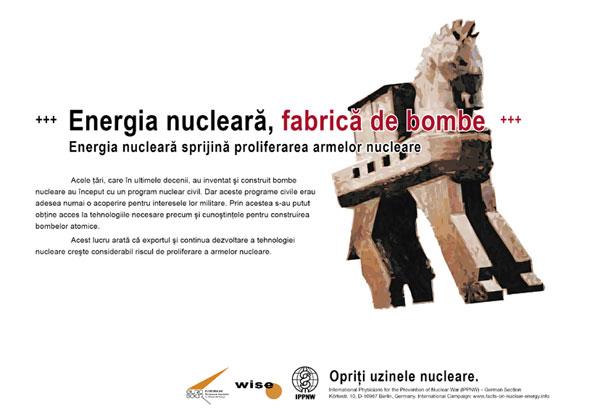 """Energia nucleară, fabrică de bombe - Energia nucleară sprijină proliferarea armelor nucleare - Campania internaţională cu pancarte """"Fapte concrete ale energiei nucleare"""""""