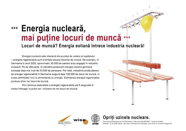 """Energia nucleară, mai puţine locuri de muncă - Locuri de muncă? Energia eoliană �ntrece industria nucleară! - Campania internaţională cu pancarte """"Fapte concrete ale energiei nucleare"""""""
