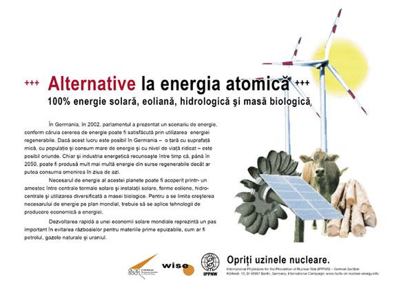 """Alternative la energia atomică - 100% energie solară, eoliană, hidrologică şi masă biologică - Campania internaţională cu pancarte """"Fapte concrete ale energiei nucleare"""""""