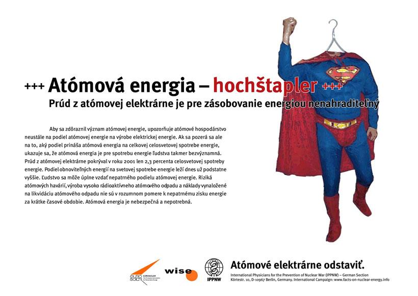 """At�mov� energia-hoch�tapler - Pr�d z at�movej elektr�rne je pre z�sobovanie energiou nenahraditeľn� - Medzin�rodn� plag�tov� kampaň """"Fakt� k at�movej energii"""""""