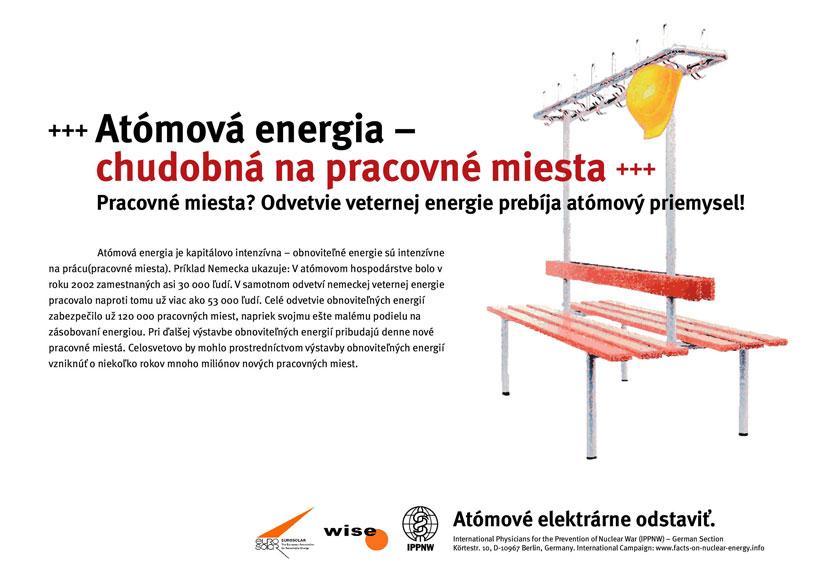 """At�mov� energia-chudobn� na pracovn� miesta - Pracovn� miesta? Odvetvie veternej energie preb�ja at�mov� priemysel! - Medzin�rodn� plag�tov� kampaň """"Fakt� k at�movej energii"""""""