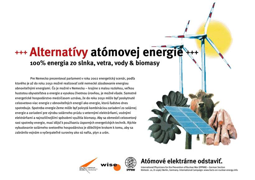 """Alternatívy atómovej energie - 100% energia zo slnka, vetra, vody & biomasy - Medzinárodná plagátová kampaň """"Faktá k atómovej energii"""""""