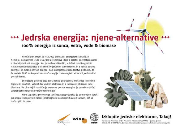 "Jedrska energija: njene alternative - 100% energija iz sonca, vetra, vode & biomase - Mednarodna plakatna kampanja ""Dejstva o atomski energiji"""