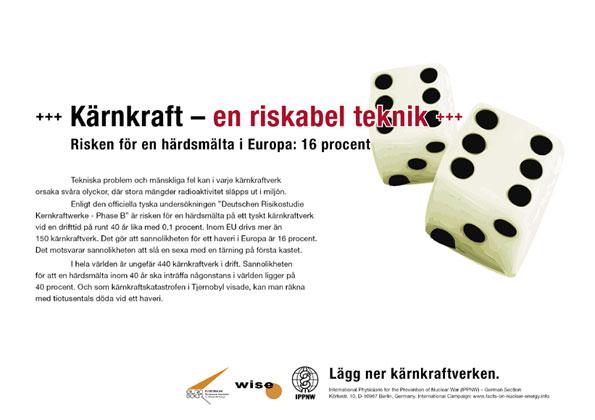 """Kärnkraft – en riskabel teknik - Risken för en härdsmälta i Europa: 16 procent - Internationell plakatkampanj """"Fakta om kärnkraft"""""""