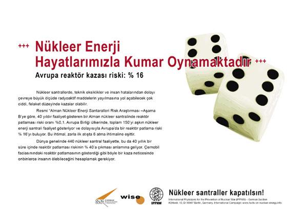 """Nükleer Enerji Hayatlarımızla Kumar Oynamaktadır - Avrupa reaktör kazası riski: % 16 - """"Atom Enerjisi Gerçeği"""" – Uluslararası Afiş Kampanyası -- International Nuclear Power Fact File Poster Campaign"""