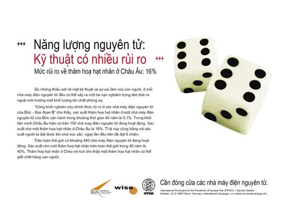 """Năng lượng nguy�n tử: Kỹ thuật c� nhiều rủi ro - Mức rủi ro về thảm hoạ hạt nh�n ở Ch�u �u: 16% - Phong tr�o cổ động mang t�n: """"Sự thật về năng lượng nguy�n tử"""""""